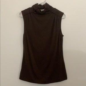 Max Studio, sleeveless, brown, mock turtle neck.